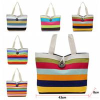 Wholesale tote bags online - 11styles rainbow striped bag canvas bags shoulder bag Storage Bags female handbag Casual women Shopping beach tote FFA1867