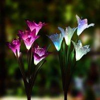 atividade de iluminação solar venda por atacado-A estaca solar exterior do jardim de Coquimbo ilumina luzes solares da flor com as 8 luzes movidas a energia solares em mudança da flor do lírio