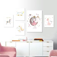 Wholesale baby nursery painting for sale - Group buy Princess Baby Room Cuadros Wall Art Nordic Poster Nursery Picture For Children Room Cartoon Canvas Painting Baby Unframed