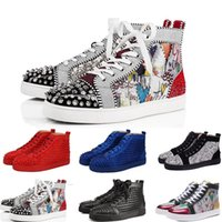 cristiano louboutin zapatos planos  al por mayor-Christian Louboutin 2019 Red Bottoms Designer Fashion Designer Brand Studded Spikes Flats shoes CASUAL Shoes For Men Women Party Lovers Genuine Leather Sneakers