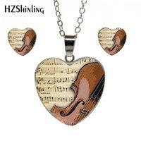 instrumente musicals china großhandel-New Vintage Violine Herz Halskette Musikinstrumente Anhänger Schmuck Hand Handwerk Herz Schmuck Set Geschenke für Frauen