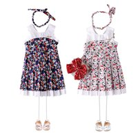 Wholesale western summer clothing for sale - Girls Candy Color Princess Kids Western Party Flowers Pleated Clothing Summer Ruffles Sleeveless Cute Dresses