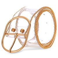 ingrosso cinghie trasparenti-Novità Cintura donna trasparente Fibbia ad ardiglione in oro Cinturini a vita alta con cinturino invisibile in vita