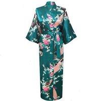 ingrosso accappatoio da donna verde-Pigiami per le donne Femme Intimo 3XL Oversize Nuova Drak verde damigella d'onore abito di raso rayon accappatoio per le donne Kimono Sleepwear