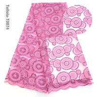 telas de encaje completo al por mayor-Telas de encaje rosa francés hecho a mano tela de lentejuelas de flores 3d tela de encaje nupcial con cuentas de lujo completo 5 yardas