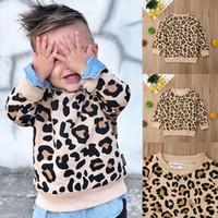 heiße blusenentwürfe großhandel-Heißer verkaufender spätester Entwurf scherzt langärmliges Leopard-Hemd der Jungen-Mädchen übersteigt Bluse Hoodie 1-7Y