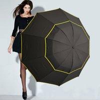 iş şemsiyeleri toptan satış-Çift Golf Şemsiye Yağmur Erkekler Kadınlar Rüzgar Geçirmez 3 Silgi Büyük Erkek Kadın Şemsiye Olmayan Otomatik Iş Şemsiye NY097