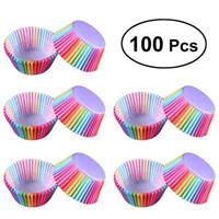 cupcakes forros de papel al por mayor-Cocina Para Hornear 100 Unids Rainbow Paper Cake Cup Cupcake Paper Muffin Bandeja de Fiesta Utensilios para Hornear Soportes Cupcake Liners Banquete de Boda Decoración