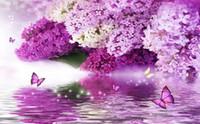 güzel kelebek duvar kağıtları toptan satış-güzel sahne duvar kağıtları Mor çiçek hidrolojisi yansıma kelebek arka plan duvar