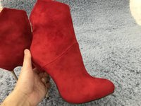 Wholesale red ball boots for sale - Group buy Women Stiletto Thin Iron High Heel Sexy Mid Calf Boots Round Toe Red Suede Fashion Evening Party Ball Lady Half Boots BT c