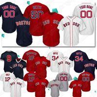 ted williams baseball venda por atacado-Personalizado Vermelho 50 Mookie Betts Sox Camisas de Beisebol 9 Ted Williams 16 Andrew Benintendi 34 camisa de David Ortiz T-shirt