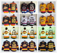 ccm vintage jerseys venda por atacado-CCM Vancouver Canucks Vintage Hóquei no Gelo 10 Pavel Bure Jersey 89 Alexander Mogilny 16 Trevor Linden costurado Branco Amarelo Jersey