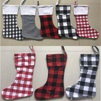 Wholesale christmas long socks resale online - Xmas socks Christmas stockings Personalized Buffalo Plaid Christmas Stocking Canvas Red and White Black Check Xmas Stocking EEA478