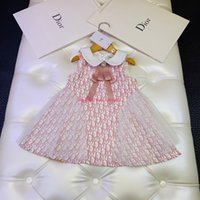 tecido para vestidos de meninas venda por atacado-Vestido da menina Primavera / outono e inverno moda infantil roupas de grife carta colete vestido de tecido de poliéster vestido de festa vestidos
