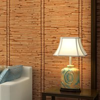 Wholesale natural fiber insulation resale online - 3D Chinese style bamboo weaving texture wallpaper natural eco friendly bedroom sitting study tea house waterproof PVC wallpaper