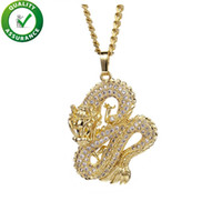 collar de lujo de china al por mayor-Helado hacia fuera Colgante Collar de diseñador de joyas de hip hop Dragón chino Para hombre Cadena de oro Colgantes de moda de lujo Bling Diamond Pandora Style Charms