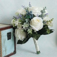 buquês de flores de noiva artificial azul venda por atacado-26 centímetros de seda do casamento buquê de noiva Branco Blue Rose Artificial com casamento da fita suprimentos buquê de flores menina B346