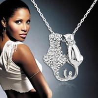 katzenliebhaber geschenk großhandel-Katze Anhänger Halskette Luxus Schmuck Liebhaber Schmuck Valentinstag Geschenke Doppel Katze Paar Halsketten Tier Halsketten