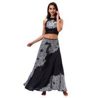 tüp üst yazlık elbiseler toptan satış-Kadın Sling Elbise Ayçiçeği Baskı Bir Kelime Yaka Etek Tüp Üst Yaz Beachwear Yumuşak Nefes Siyah Moda 48 ml C1