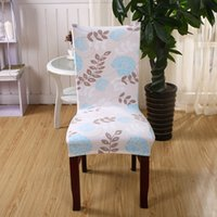 bären blumen großhandel-PAPAMIMA Tree Flowers Muster Stretch elastische Stuhlabdeckung Brown Bear Print Spandex Dinner Chair Case
