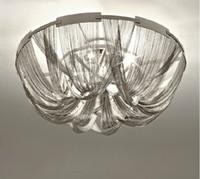ingrosso splendida illuminazione-Lampada a sospensione moderna in tessuto argentato di stile moderno Catena di alluminio a forma di catena in nappa con catena di design di lusso Luci a sospensione a LED LLFA