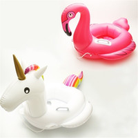 boya salvavidas al por mayor-Niño Unicornio Anillo de Natación Flamingo Vida Boya Espesar Inflable Sentado Círculo Color Sólido Respetuoso de la fábrica Ventas directas 25 5gz C1