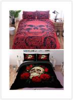 skull bedding toptan satış-Drop shipping 3D baskı Şeker kafatası nevresim Kafatası Yatak Yastık ile Set