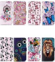 iphone tiger wallet fall großhandel-Lederner Mappenkasten Für Iphone 11 5.8 6.1 6.5 2019 Neue Samsung Note 10 Note10 Plus Pro Cartoon Geprägte Löwe Tiger Luxus Blume Eule Ständer