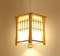 portalámparas negro colgante al por mayor-LLFA Clásico De Madera Balcón Lámparas Colgantes Comedor de Estilo Japonés Colgante de Luz Pasillo Pasillo Lámpara Colgante