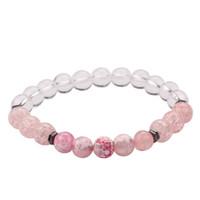 модные розовые бусы оптовых-Новый Fancy женщин Розовый и синий Природный камень браслет 8мм белый бисер браслет для продажи 5PCS / Set