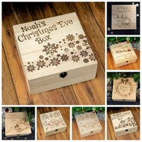 Wholesale wooden christmas boxes resale online - Hot Sale Christmas Ornament Wooden Box Carving Snowman Snowflake Deer Apple Gift Boxes For Adult And Children jc H1