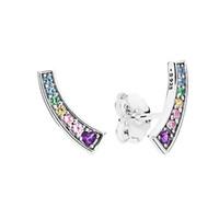 cristal de plata esterlina al por mayor-NUEVA Moda de arco iris CZ Diamond Stud Earrings Original Box set para Pandora 925 Sterling Silver Color Crystal Pendiente de las mujeres