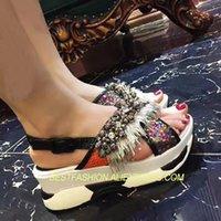 boncuk sandaletleri toptan satış-Sıcak Yaz Ayakkabı Kadın Sandalet Gelgit Dize Boncuk Rahat Kadın Slaytlar Su Geçirmez Tasarımcı Saçak Ayakkabı Sandalet