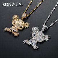 ingrosso rana-Bling bling Frog Pendant Brass Micro pavé con pietre CZ Collana Jewelry HIP HOP CN080