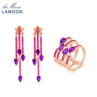 amatista lágrima al por mayor-LAMOON 925-Sterling-Silver Teardrop Purple Amethyst Natural Gemstone 2PCS Conjuntos de joyas Joyería fina para mujeres Boda V049-y-9