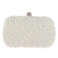 elegante braut taschen großhandel-Ovale Perle Perlen Handtasche Frauen weiße Handtasche elegante Kette Schulter Handtaschen Hochzeit Braut Handtasche Kupplung weiblich Z80