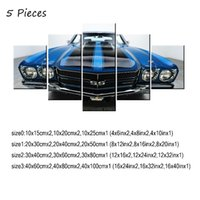 Wholesale Chevelle SS Blue Black Muscle Car Pieces Home Decor HD Printed Modern Art Painting on Canvas Unframed Framed