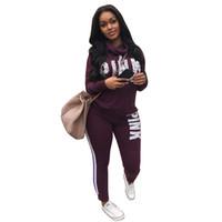 ingrosso abiti militari-Set di abiti da lettera rosa 2019 Tuta da donna Felpa da jogging in due pezzi stile sportivo da allenamento Fitness Lounge Sportwear MX190810
