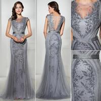 robes de soirée en or vintage achat en gros de-2019 magnifiques robes de soirée en or gris scoop sans manches en dentelle perles partie Pageant robes robe de célébrité arabe Vintage robes de bal
