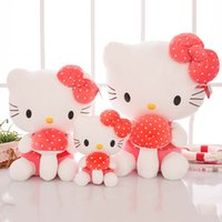 ingrosso grande peluche di funghi-30-50cm Pink KT Cat Plush Toy con fungo Big Cat Doll Holding Heart Girl Valentines Gift Girlfriend Present Kitty Birthday