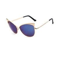 lunettes de soleil oreilles de chat achat en gros de-MIARHB # Z5 NOUVEAU CHAUD 2019 Free Ship Femmes Fashion Cat Ear lunettes de soleil Cadre En Métal Lunettes de Soleil Marque Classique Ton Miroir
