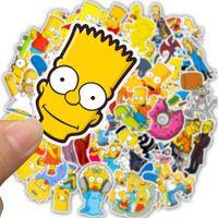 skateboarddekor großhandel-50 STÜCKE Cartoon Die Simpsons Aufkleber Für DIY Laptop Gepäck Auto Decor Anime Aufkleber Skateboard Telefon Kühlschrank Spielzeug Aufkleber