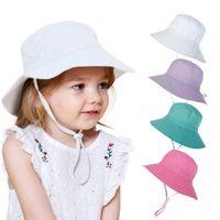 Wholesale baby wide brim hat for sale - Group buy Ins Baby Kids Sun Hat Helmet Flower Printed Beach Sunhats Children Fashion Topee Adjustable Lovely Boy Girl Bucket Wide Brim Hat