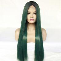 inç insan danteli peruk toptan satış-SıCAK 10 Renkler Uzun Düz Sentetik Dantel Ön Perruques 12 ~ 28 inç Simülasyon İnsan Saç Peruk