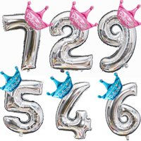 Wholesale year old birthday decorations resale online - Foil Balloons Crown Inch Figure Years Old Kid Boys Girls Happy Birthday Balloon Baby Shower Decoration