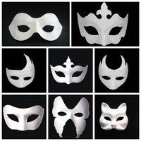 weiße maskenmalerei gesichter großhandel-Make-up Dance White Embryo Mould Malerei handgemachte Maske Pulp Festival Krone Maske Halloween weiße Gesichtsmaske T9I0078