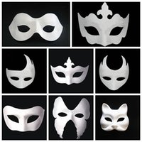 Wholesale painting women dancing resale online - Makeup Dance White Embryo Mould Painting Handmade Mask Pulp Festival crown Mask Halloween white face mask T9I0078
