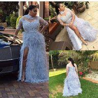 feder runway kleider groihandel-Dusty Blue Feather Plus Size Prom Dresses Mit Halbarm Sheer High Neck Split Side Abendkleider A-Line Applikationen Lange Formale Kleid