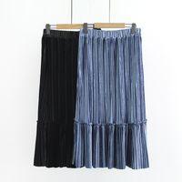 велюровые юбки оптовых-2019 плюс размер повседневная Весна Женская одежда мода велюр плиссированные юбки A22-2284