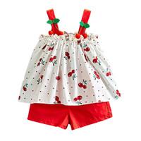 kiraz yayı toptan satış-Çocuklar Kızlar Giyim Setleri Şifon Sling Kiraz Baskılı Yay Üst Çocuklar Giysi Tasarımcısı Iki Parçalı Takım Katı Elastik Şort Nefes kumaş